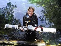 Marike with sample tube
