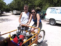 Marike and Trish and tricycle